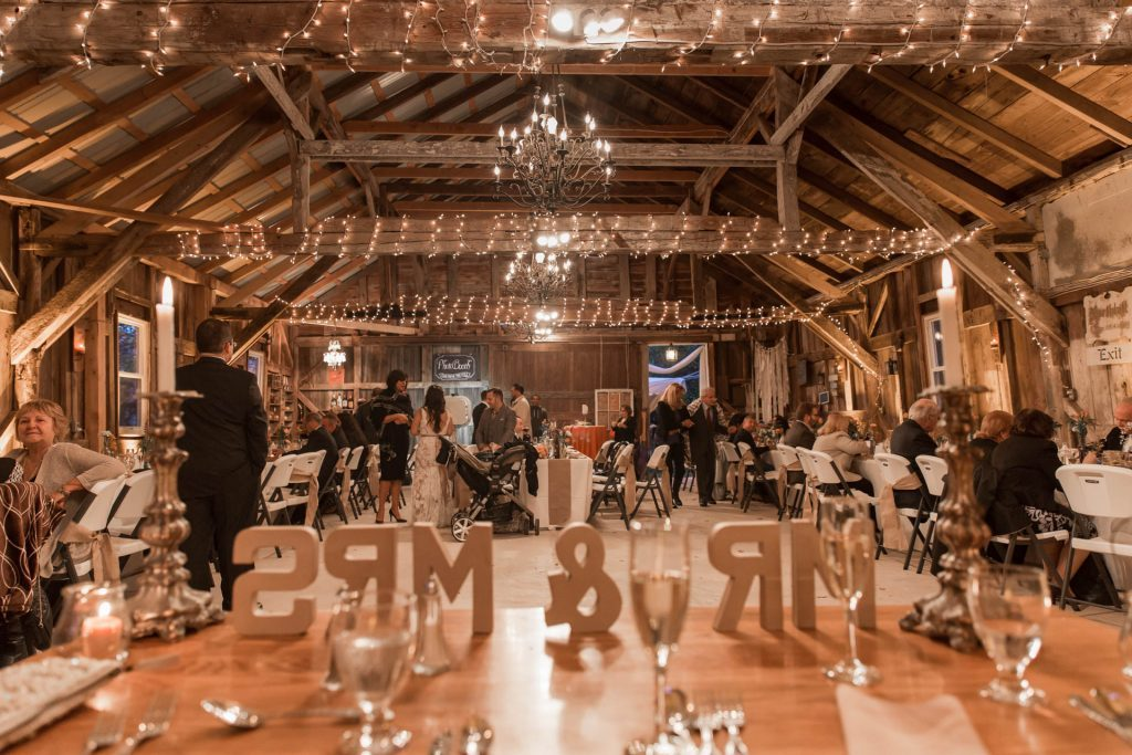 interior of wedding barn